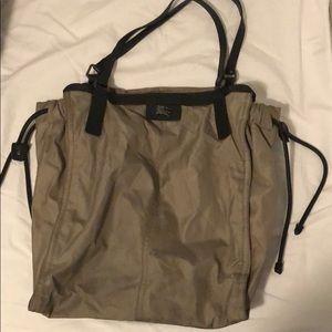 Burberry satchel, worn